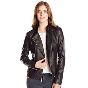 calvin klein womens leather moto biker jacket